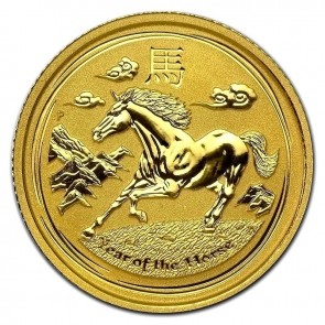 1/10 unse Year of the Horse gullmynt 2014 - H